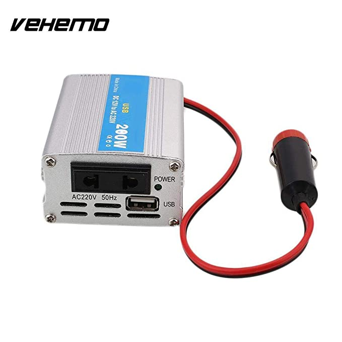 200W Car Power Inverter USB Converter DC 12V to AC 220V w/Adapter Plug Compact*
