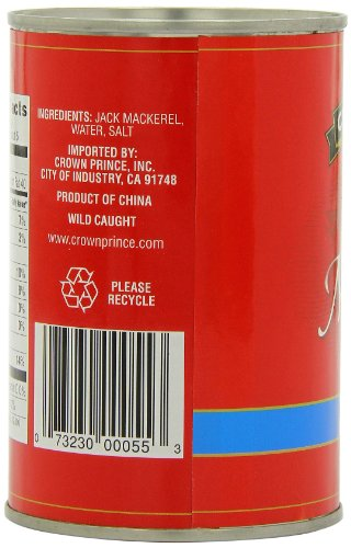Crown Prince Mackerel in Water, 15-Ounce Cans (Pack of 12)
