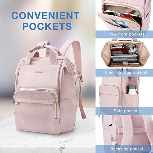 Laptop Backpack,BAGSMART 15.6 Inch Women Backpack Water Resistant Casual Daypack Large Doctor Backpack for Work,Travel,Business,College School,Pink