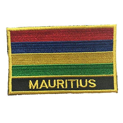 "Mauritius Flag Patch / International Travel Sew-On Emblem (Mauritius Iron-On w/ words, 2"" x 3"")"