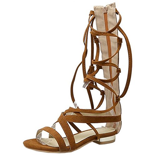 COOLCEPT Women Fashion Lace Up Sandals Open Toe Gladiator Shoes Brown uAEIdOPTRd