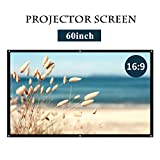 16:9 White Projector Screen,Portable HD Home Theater Movie Screen 75° Viewing Angle Plastic Projection Screen for Indoor Outdoor Home Cinema Office Use (60inch)