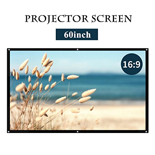 16:9 White Projector Screen,Portable HD Home Theater Movie Screen 75° Viewing Angle Plastic Projection Screen for Indoor Outdoor Home Cinema Office Use
