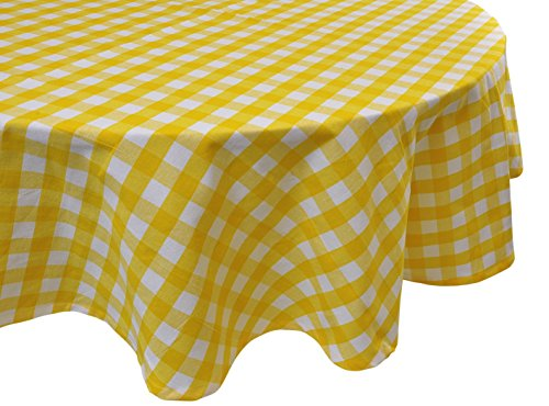 Yourtablecloth 100% Cotton Checkered Buffalo Plaid Tablecloth –Ideal for Home, Restaurants, Cafés – Be it for Everyday Dinner Parties Picnic, Holiday or Occasions 70