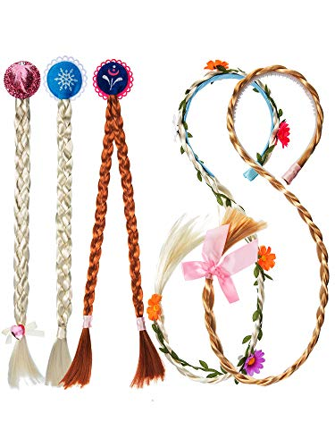 Gejoy 5 Pieces Princesses' Wig Set Princess Dress Up Braided Wigs for Girls Costume Accessories