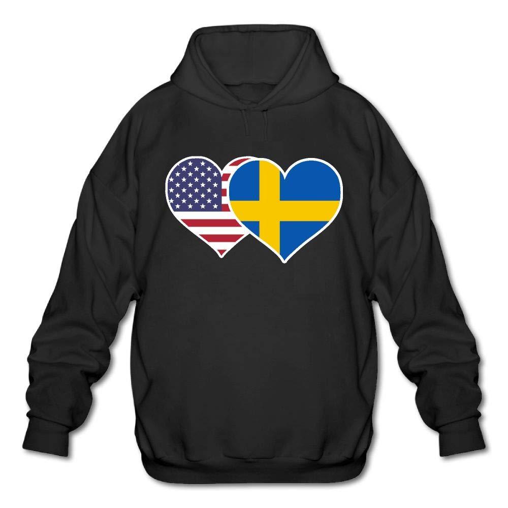 QOBPNVGNJHF0 Big Mens American Swedish Flag Heart Printed Fleece Hoody Pullover Sweatshirt