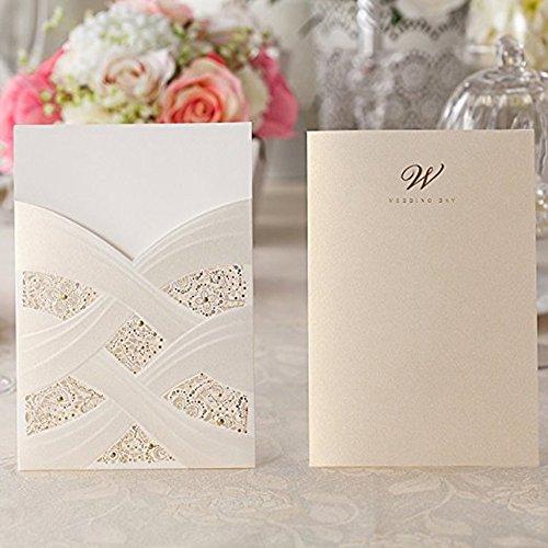 Doris Home Vertical Laser Cut Wedding Invitation with White Hollow Flora 100 pcs by Doris Home (Image #2)