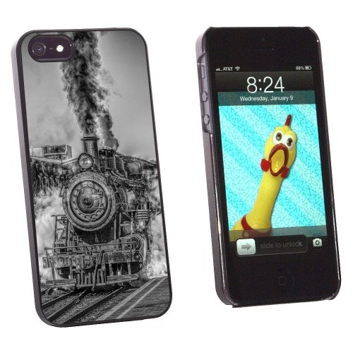Graphics and More Steam Engine Locomotive Train Snap-On Hard Protective Case for Apple iPhone 5/5s - Non-Retail Packaging - Black (Locomotive Telephone)