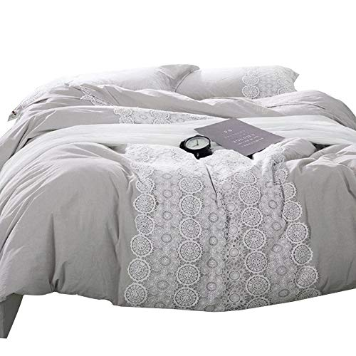 LifeTB Solid Luxury Queen Bedding Duvet Cover Set 3 Piece Cotton Duvet Comforter Cover Set with White Elegant Lace Lightweight Soft Girls Bedding Collection Full for Srping Summer