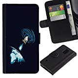 LASTONE PHONE CASE / Flip Leather Wallet Case with Credit Card Slots Money Slot for Samsung Galaxy S5 V SM-G900 / Space Blast