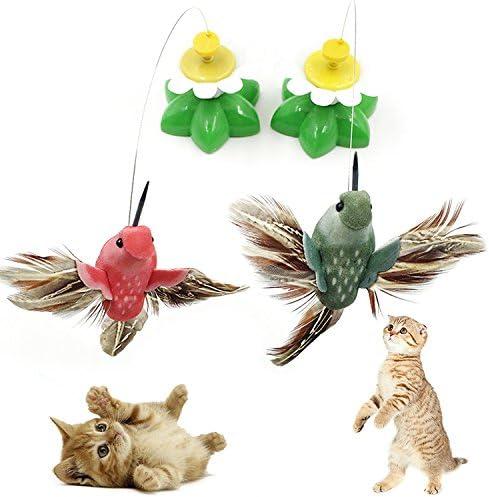 Aubess - Juguetes eléctricos para gatos, juguetes para animación, pájaros que vuelan alrededor de la flor, gato, juguetes de peluquería, multicolor, sin batería: Amazon.es: Productos para mascotas