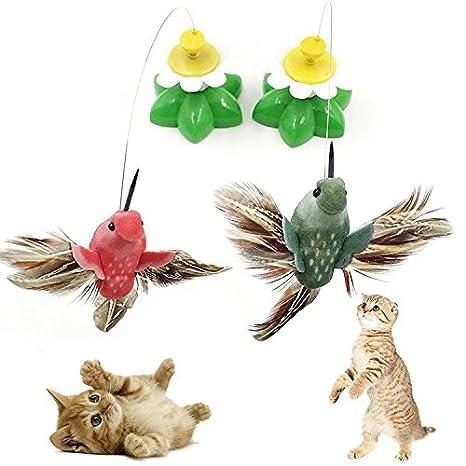 Aubess - Juguetes eléctricos para gatos, juguetes para animación, pájaros que vuelan alrededor de