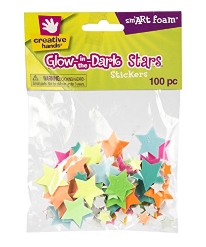 bre-Craft – Glow in the Dark Stars Foam Stickers 100/Pkg – Arts and Crafts – No Glue or Scissors Required – For Ages 3 and Up (Creative Hands)