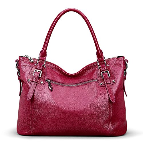 Bag Red Leather Shoulder Body Cross ZONE Bag Rose Genuine Women's S Vintage Large Handbag Tote wI618WqCx