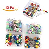 #10: 500 Pcs Flat Button &Flower Head Pins,Straight Pins, Quilting Pins with Cases
