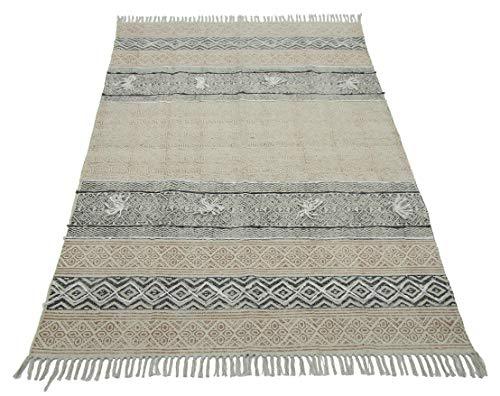 Cotton Dari Area Rug Embroidered Modern Dhurrie Mat Geometric Kilim Rug Ethnic Runner Bohemian Floor Rug Mat Black\Beige BHDW - 402 Bhavya International