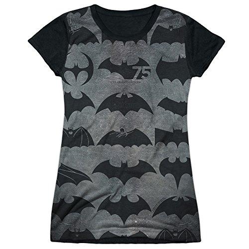 Price comparison product image Batman TV Series 75th Anniversary Bat Symbols Juniors Black Back T-Shirt Tee