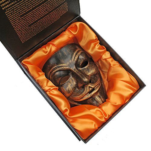 ZjpMask Gift Box + Resin V For Vendetta Anonymous Guy Fawkes Mask For Party, Decorative