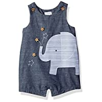 Mud Pie Baby Boys' Shortall One Piece, Elephant Chambray, 3-6 Months