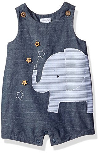 Mud Pie Baby Boys' Shortall One Piece, Elephant Chambray, 9-12 Months