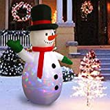 Sunlit 5.9ft Kaleidoscope Lightshow Colorful Lights Airblown Snowman Christmas Inflatable Lighted Yard Decoration with Blower and Adaptor for Indoor Porch Outdoor