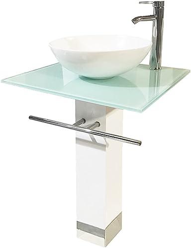 QIERAO 23″ Bathroom Vanity Set Tempered Glass Pedestal Sink