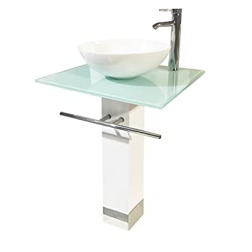 Lovely QIERAO Bathroom Vanity Set Tempered Glass Pedestal Sink For Save Bathroom  Space