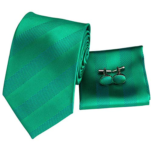 Hi-Tie Men Classic Green Teal Tie Necktie with Cufflinks and Pocket Square Tie Set (Green Stripes)