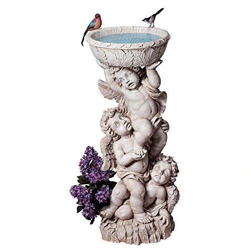 Baroque Style Trio of Cherubs Birdbath Baby Angel Garden (Cherub Urn)