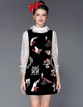 ZXR otoño e invierno mujeres ropa Moda Vintage bordado One Piece Puls de  lana de sin mangas tamaño vestido de fiesta trabajo Casual  1c26755bc9af