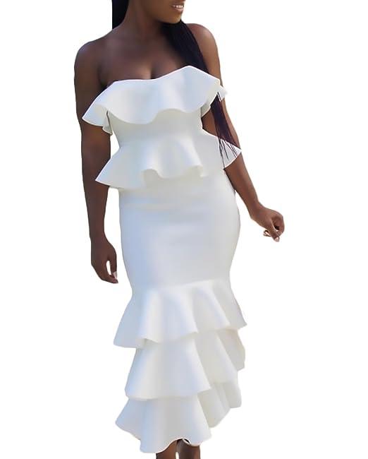 Mujer Vestidos De Fiesta Largos De Noche Elegantes Vintage Bandeau Bodycon Sencillos Especial Vestido Verano Sin