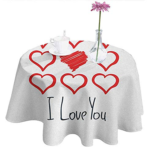 Douglas Hill Romantic Waterproof Anti-Wrinkle no Pollution Hand Drawn Style Red Hearts Set with Scribble with I Love You Lettering Table Cloth D55 Inch Dark Blue Red White