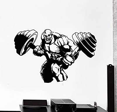 Vinyl Wall Decal Bodybuilding Iron Sport Barbell Gym Muscle Stickers (616ig)