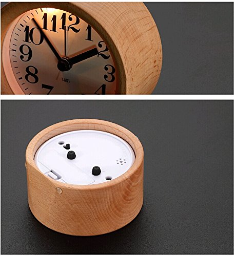 Yute Children Small Desk Wooden Alarm Clock Round Snooze Travel Wood Clock with Nightlight