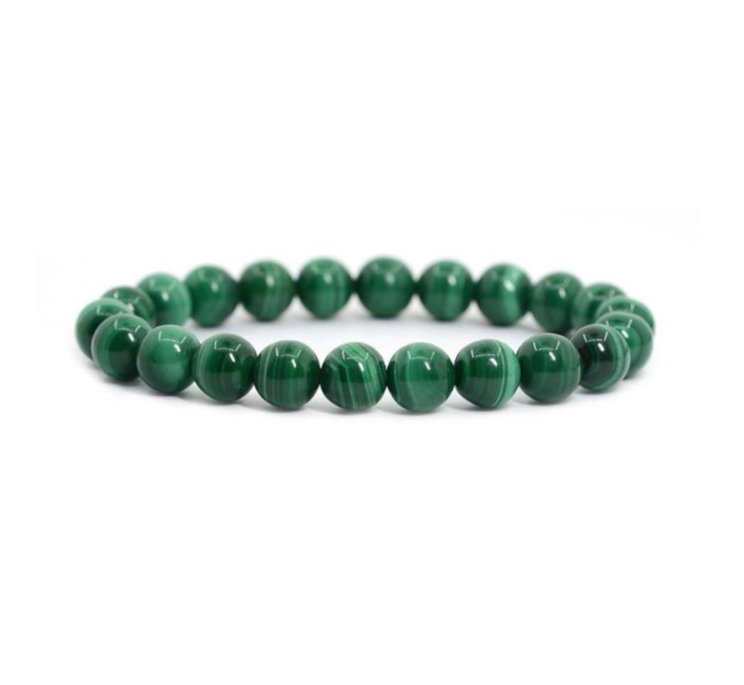 Created Malachite Bracelet Gemstone Bracelet 7 inch Stretchy Chakra Gems Stones Great Gifts (Unisex) GB8-11