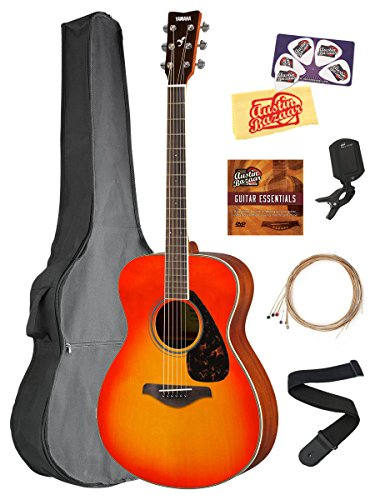 Yamaha FS820 Solid Top Small Body Acoustic Guitar – Autumn Burst Bundle with Gig Bag, Tuner, Strings, Strap, Picks, Austin Bazaar Instructional DVD, and Polishing Cloth