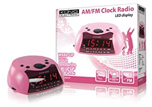 König HAV-CR21PUK - Radiodespertador (AM/FM, LED, 230V) color rosa