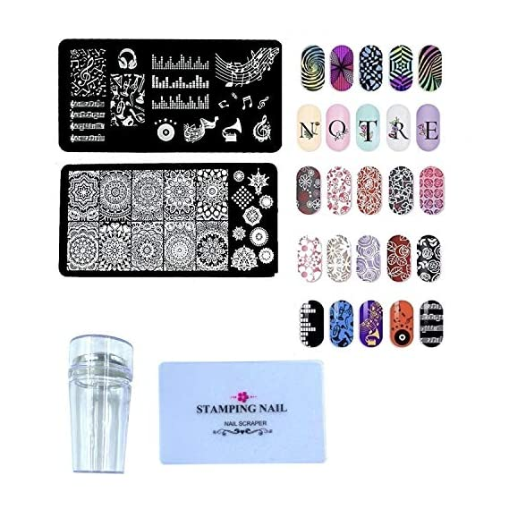 24x7 eMall Nail Stamping Kit with 2 Rectangular Image Plates With Stamper And Scrapper (2 Plates) Random Designs
