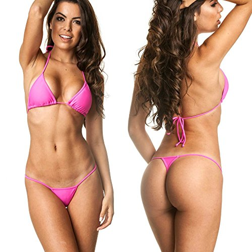COQUETA Swimwear Brazilian Teeny Micro Thong Mini Bikini Swimsuit G String Pink-XL