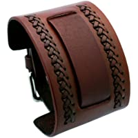 Nemesis NW-B Brown Wide Leather Cuff Wrist Watch Band