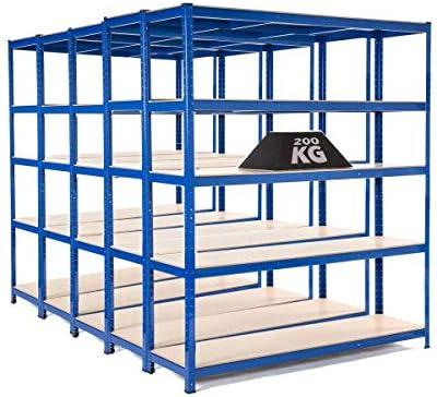 2 estantes extra resistentes para garaje de 1800 mm de alto x 1500 mm de ancho x 600 mm de profundidad con revestimiento de color azul