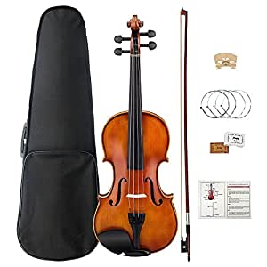 Violin 4/4, Violin Set Ebony Fitted with Hard Case, Rosin, Shoulder Rest, Ebony Fingerboard and Pegs, Mugig Fiddle with Replacement Strings (Full Size)