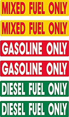 Diesel, Gasoline, Mixed Fuel, prime, fast delivery, 6 decals as shown, waterproof, laminated, UV fade protected, alert, warning, caution, notice, stickers, decals, for vehicle, car, truck, barrel, can, sign