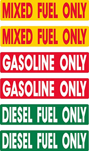 - Diesel, Gasoline, Mixed Fuel, prime, fast delivery, 6 decals as shown, waterproof, laminated, UV fade protected, alert, warning, caution, notice, stickers, decals, for vehicle, car, truck, barrel, can, sign