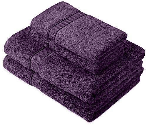 Pinzon by Amazon Lot deserviettes, 2 draps de bain et 2serviettes de bain en coton Prune