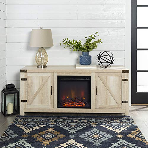 - Home Accent Furnishings New 58 Inch Barn Door Fireplace Television Stand - White Oak Color