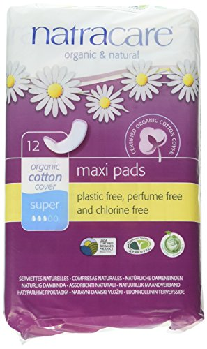 Natracare Maxi Pads Super with Organic Cotton Cover 12 ea (Pack of 2)