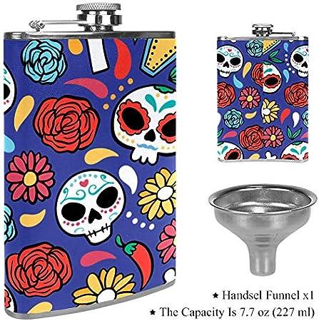 Petaca de licor a prueba de fugas, 7,6 onzas, tapa de piel con diseño de flagón dibujado a mano para el Día de los Muertos Color1