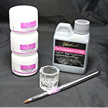 Ships From CA, USA Basic Nail Art Kit White Pink Clear Acrylic Powder Acrylic Liquid Pen Dappen Dish Kit