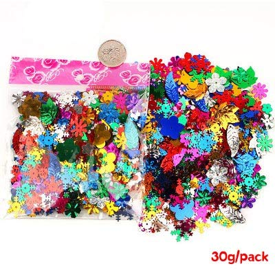 Crafts - Various Sequins for Clothes Dress Animal Star Plastic Glitter Confetti Loose Sequins for Nail Colorful DIY Crafts for Needlework - (Color: ()